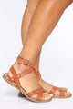Never Again Flat Sandals - Cognac