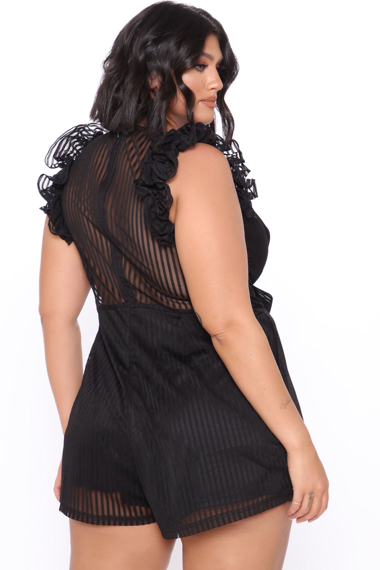 Ruffle Sensation Romper - Black