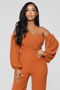 Spice It Up Jumpsuit - Brown Angle 2