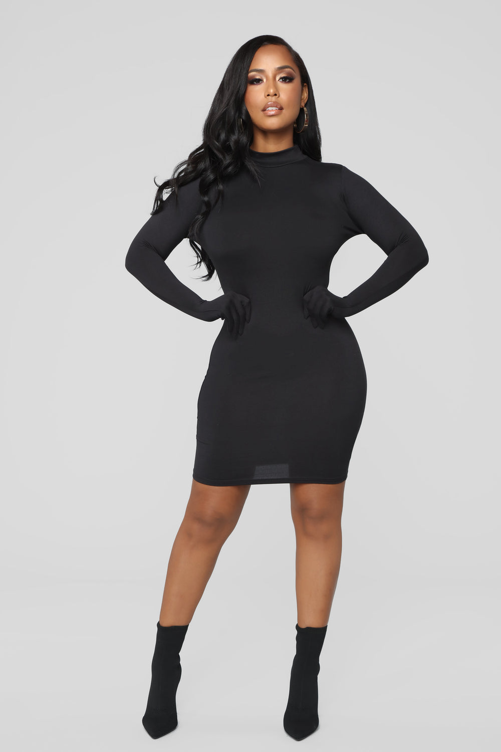 No Fingertips Glove Mini Dress - Black