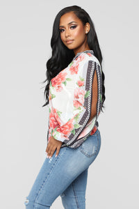 Linda Button Down Floral Top - White