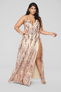 Fame Excess Sequin Dress - Rosegold Angle 6
