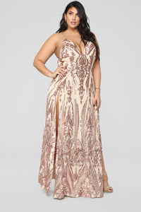 Fame Excess Sequin Dress - Rosegold Angle 8