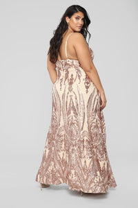 Fame Excess Sequin Dress - Rosegold Angle 9