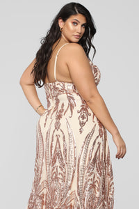 Fame Excess Sequin Dress - Rosegold Angle 10