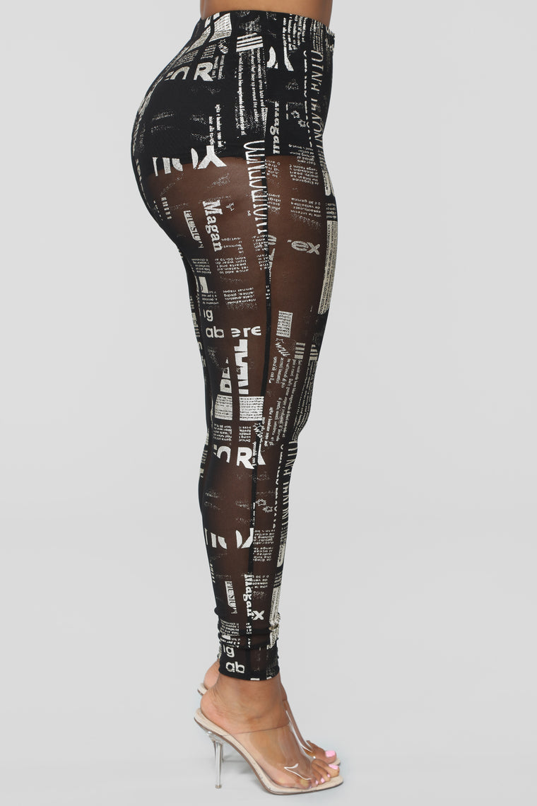 Read Between The Lies Mesh Leggings - Black