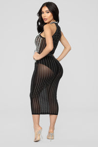 Diamonds And Pearls Mesh Dress - Black