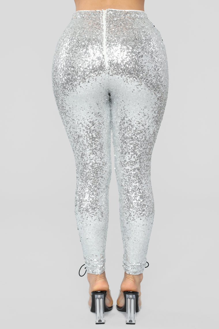 Vixen Sequin Legging - Silver/Black
