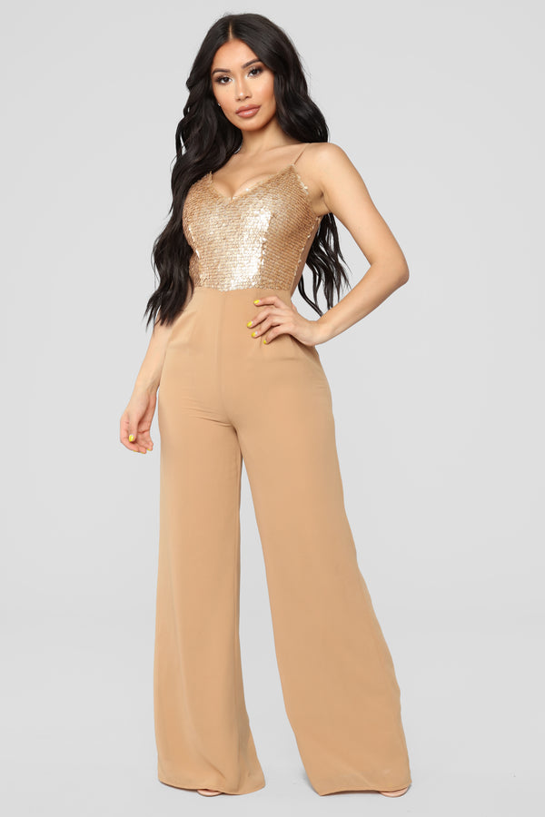 ec16cdb3fc57 Let s Groove Tonight Sequin Jumpsuit - Gold