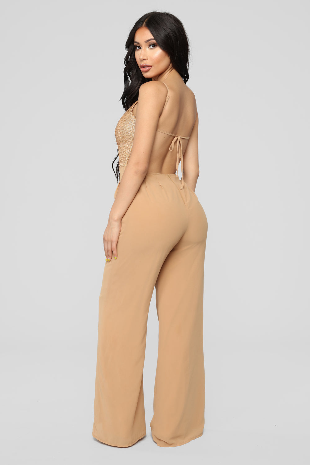 Let's Groove Tonight Sequin Jumpsuit - Gold