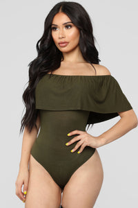 Happy Hour Bodysuit - Olive Angle 1