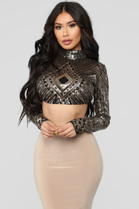 High Society Top - Black/Gold