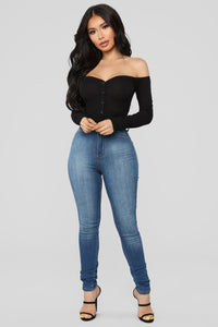 Fool In Love Off Shoulder Bodysuit - Black Angle 3