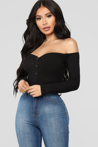 Fool In Love Off Shoulder Bodysuit - Black Angle 2