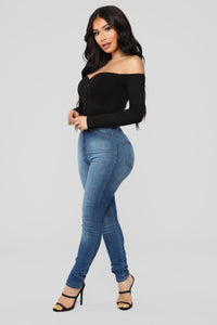 Fool In Love Off Shoulder Bodysuit - Black