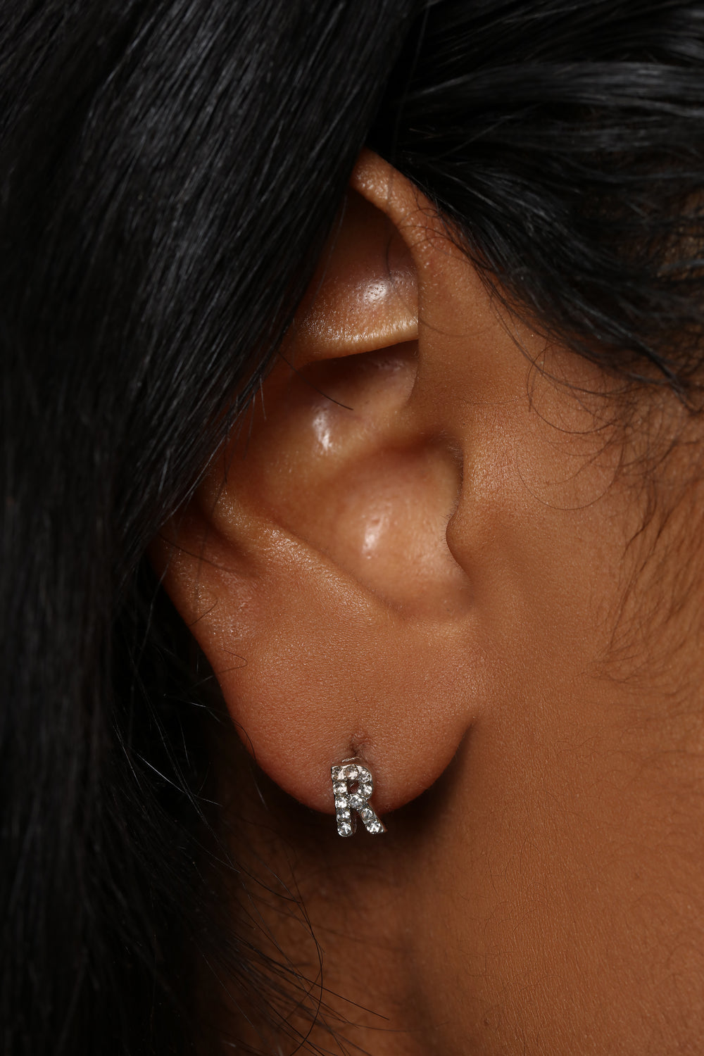 Uniquely Me 'R' Earrings - Silver