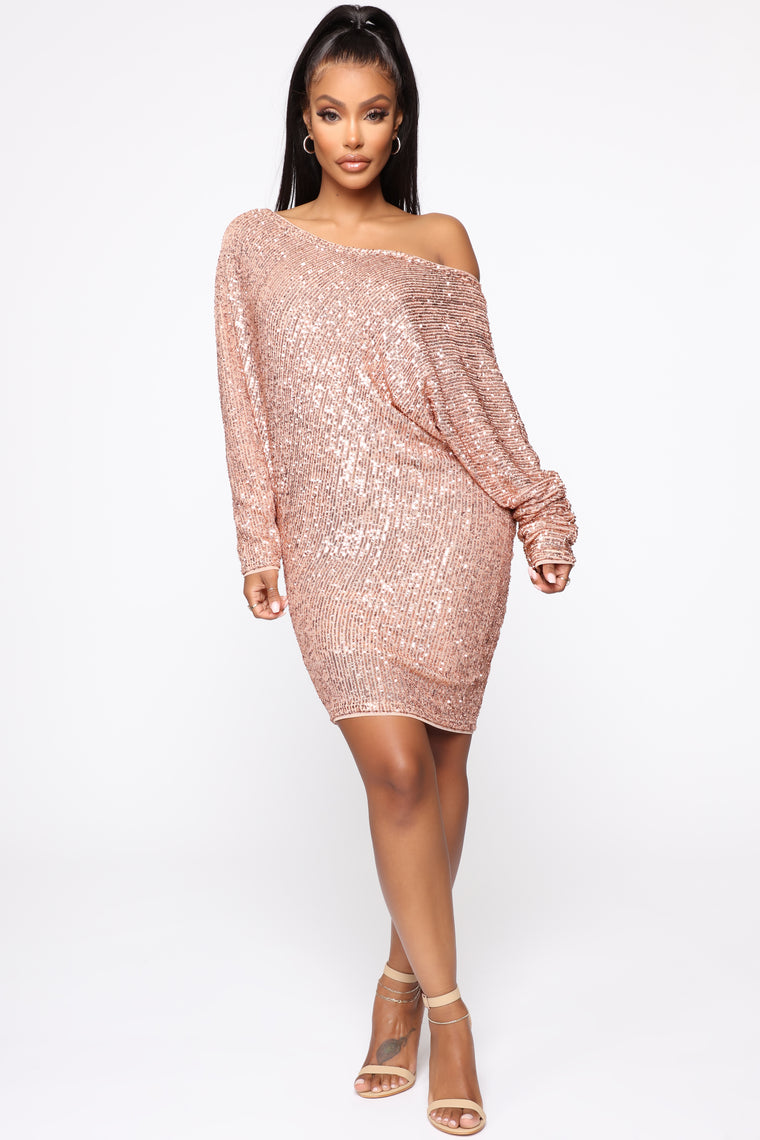 Never Enough Sequin Mini Dress - Rose Gold