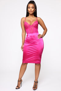 Dime Piece Satin Midi Dress - Magenta Angle 1