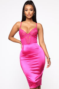 Dime Piece Satin Midi Dress - Magenta Angle 2