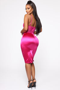 Dime Piece Satin Midi Dress - Magenta Angle 4