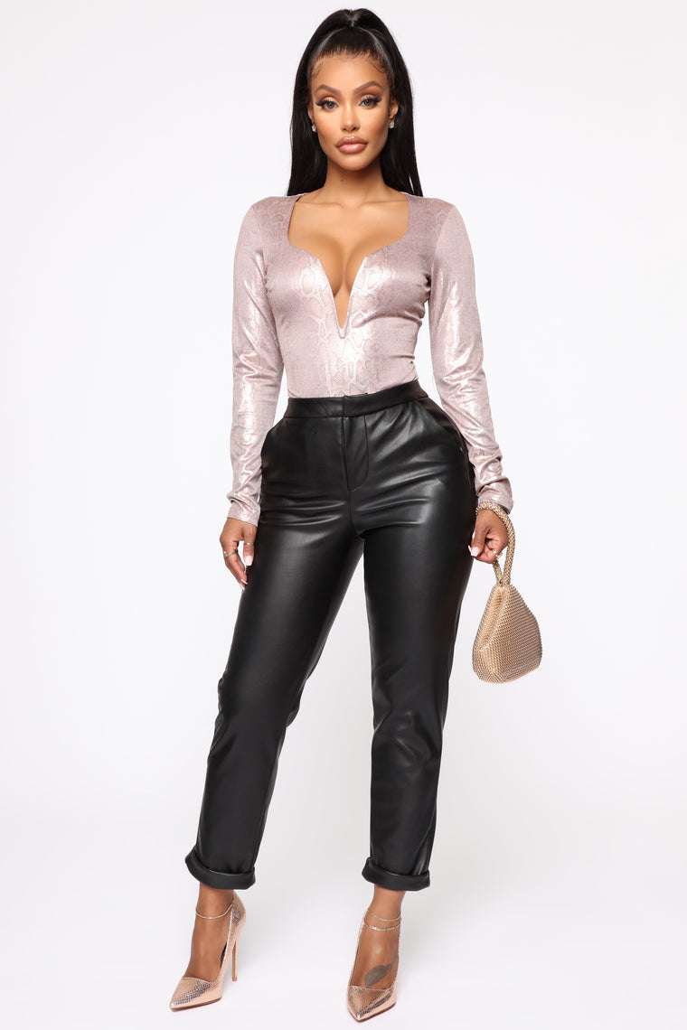 Don't Wait For Me Bodysuit - Rose Gold