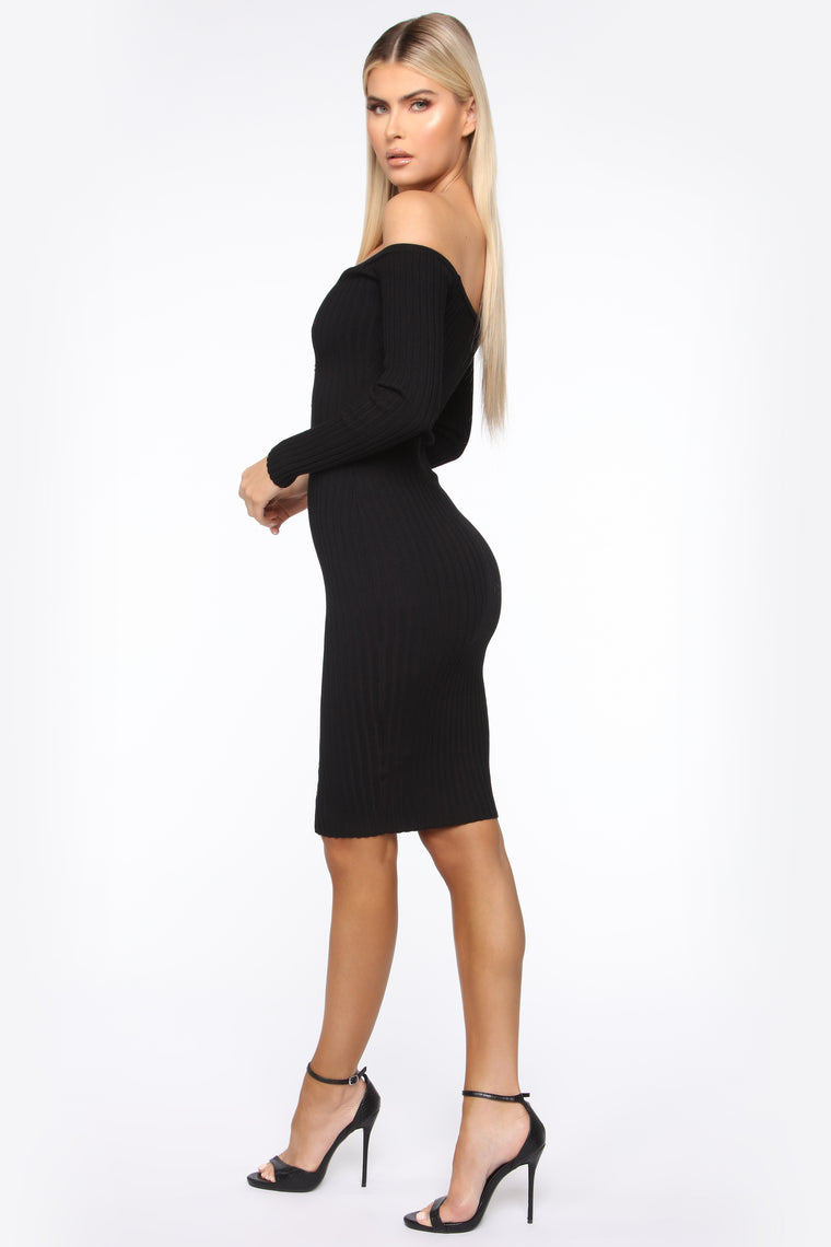 Don't Waste My Time Sweater Midi Dress - Black