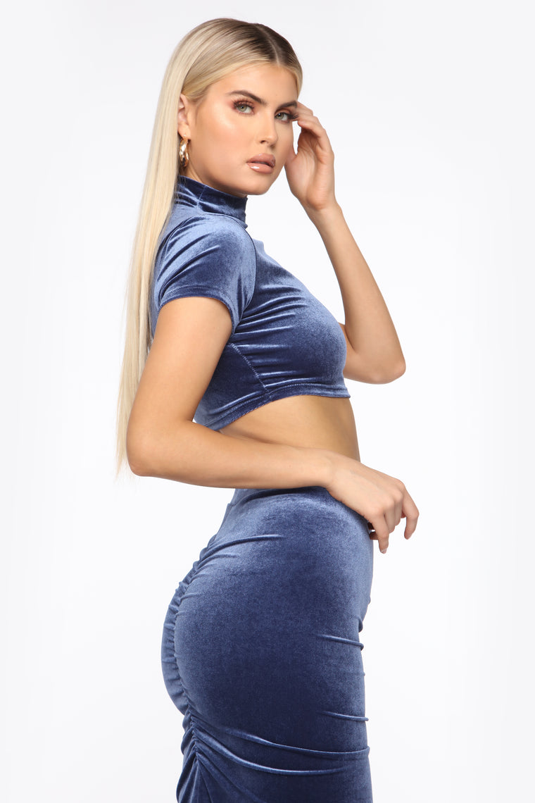 Kimmy Velvet Skirt Set - Indigo