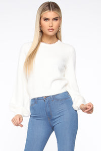 Shay Fuzzy Sweater - White