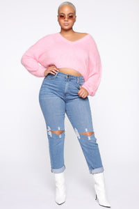 Keep Me Cozy Fuzzy Sweater - Pink