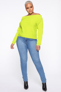 You're A Doll Off Shoulder Top - Neon Yellow Angle 7
