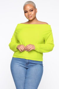 You're A Doll Off Shoulder Top - Neon Yellow Angle 6
