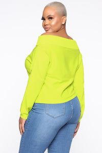 You're A Doll Off Shoulder Top - Neon Yellow Angle 9