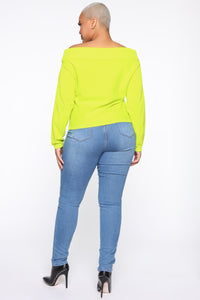 You're A Doll Off Shoulder Top - Neon Yellow Angle 10