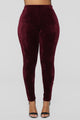 Softest Feel Velour Leggings - Burgundy
