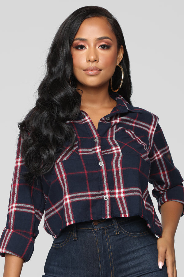 fabac6bbd7548 Lounge Affair Collared Raw Hem Top - Navy Combo