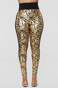 Let's Get Lost Tonight Leggings - Gold
