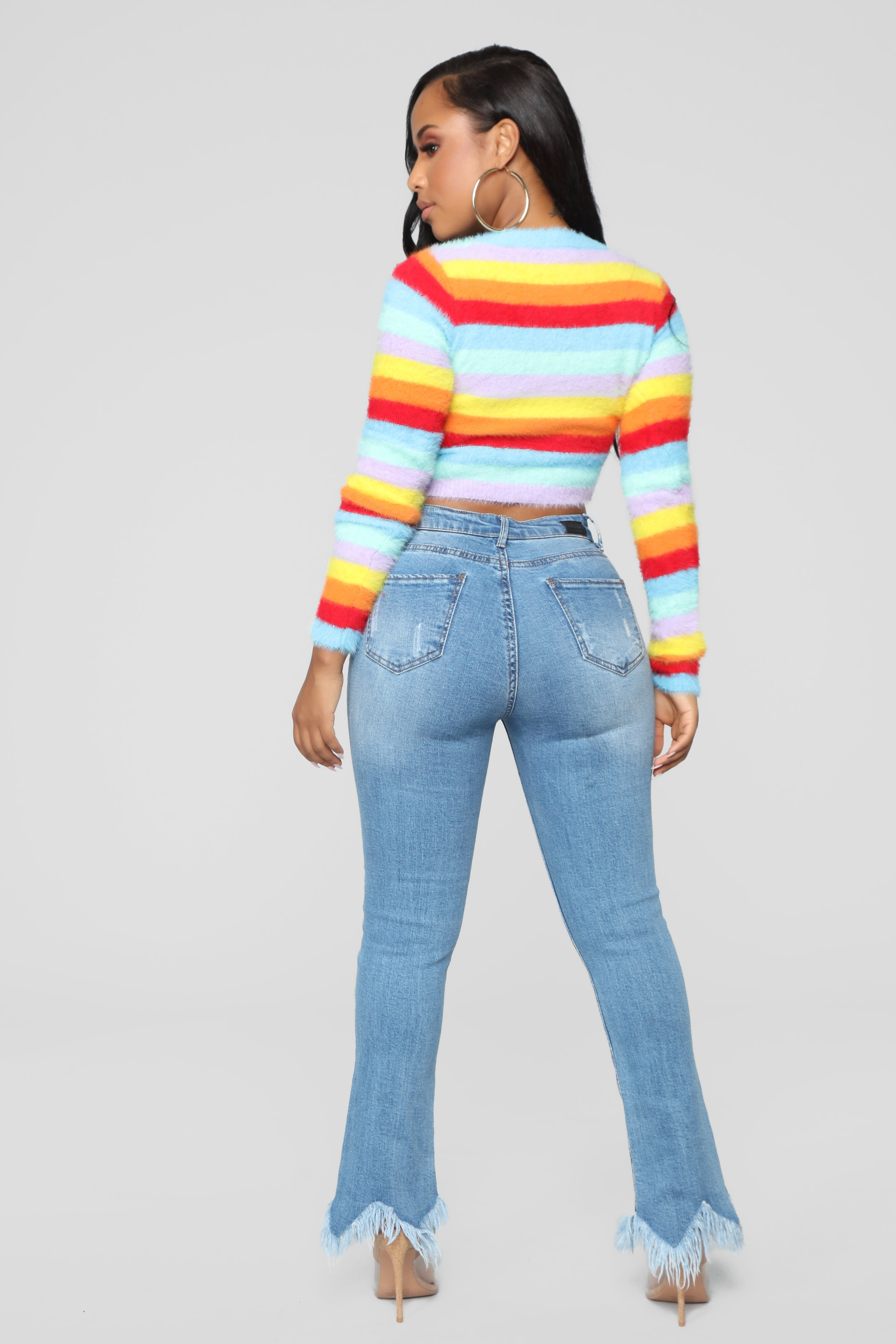 5a8d4a40428f7 Feeling Colorful Fuzzy Sweater - Rainbow