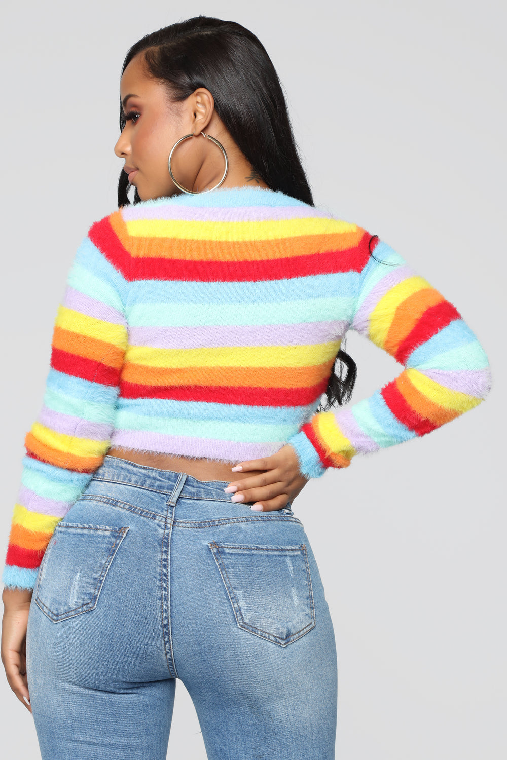 Feeling Colorful Fuzzy Sweater - Rainbow