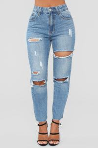 Out Of Town Distressed Boyfriend Jeans - Light Blue Wash Angle 1