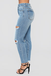 Out Of Town Distressed Boyfriend Jeans - Light Blue Wash