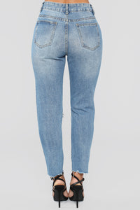 Out Of Town Distressed Boyfriend Jeans - Light Blue Wash Angle 6