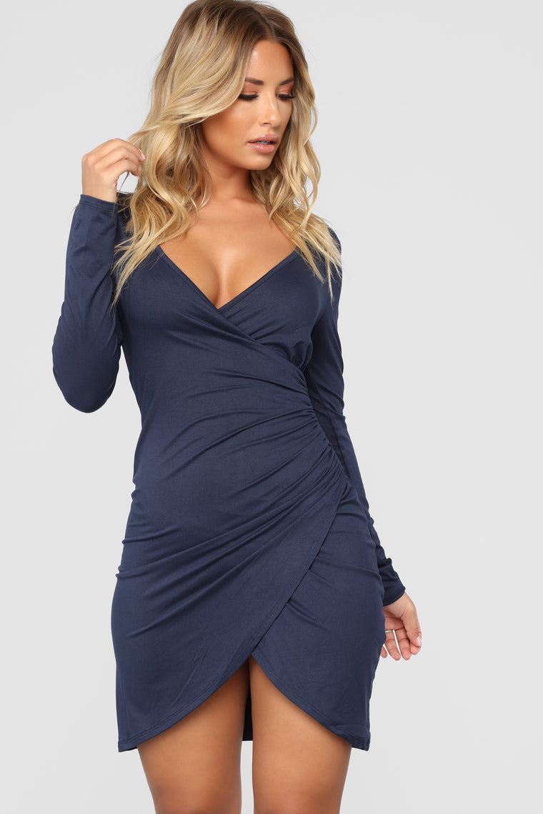 Celene Wrap Dress - Navy