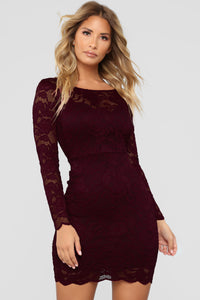 Marnie Lace Dress - Burgundy