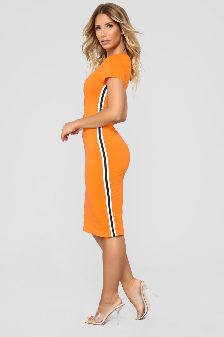 Go Get It Girl Midi Dress - Orange
