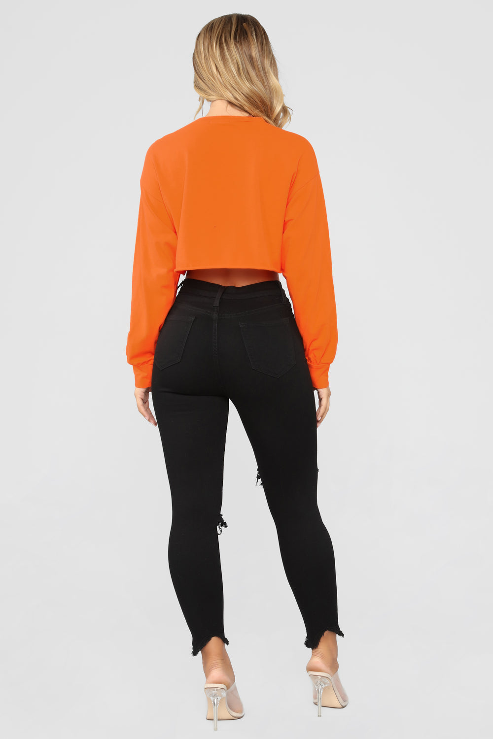 Playhard Long Sleeve Crop Top - Orange