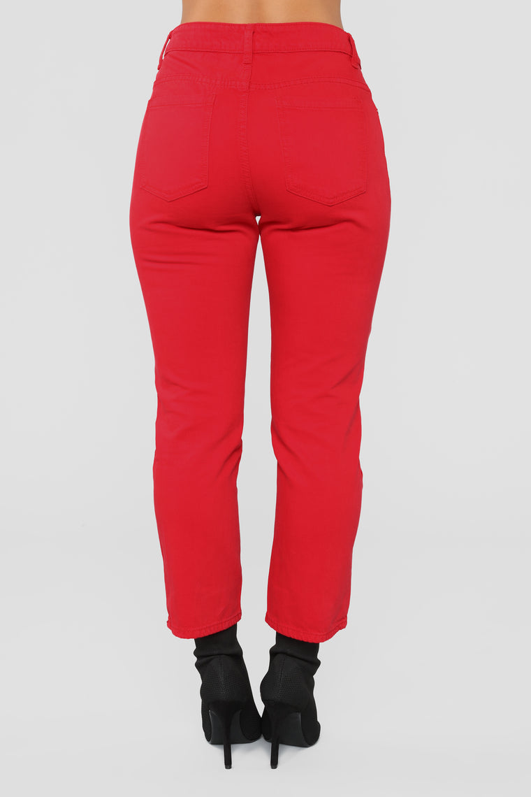 Heads Will Roll High Rise Jeans - Red