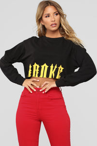 Broke Long Sleeve Crop Top - Black