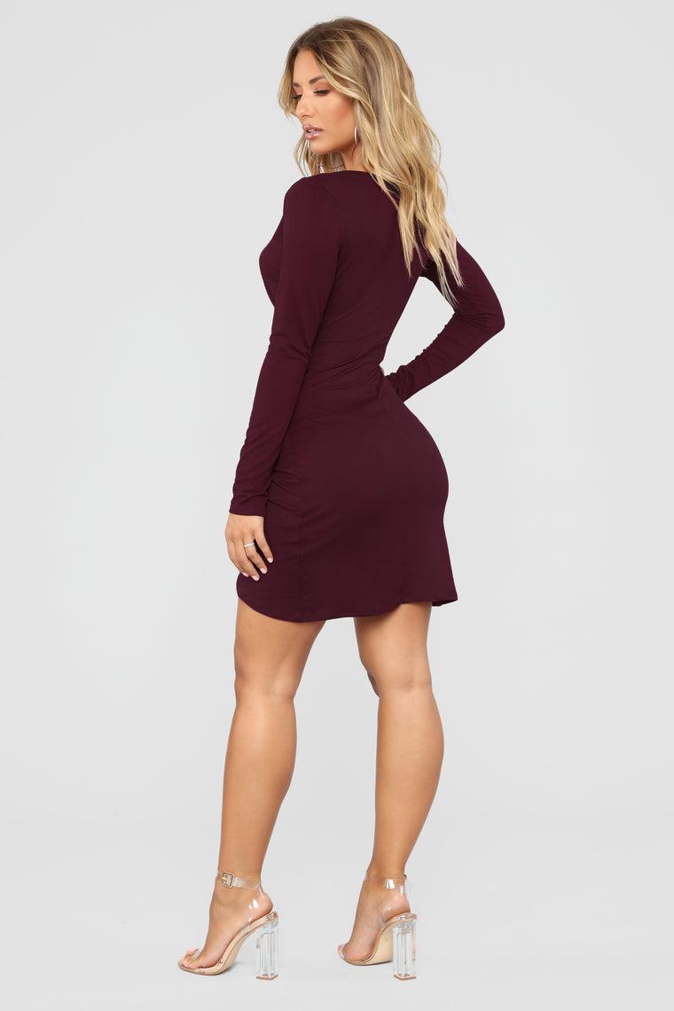 Celene Wrap Dress - Burgundy