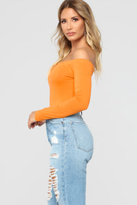 Day To Day Off Shoulder Bodysuit - Mustard
