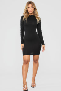 Always Happy Mock Neck Dress - Black